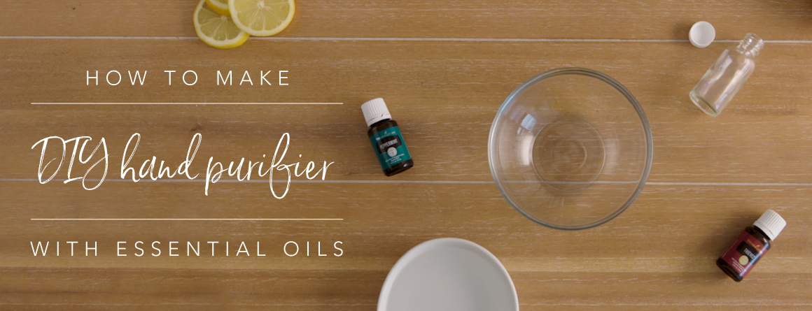 essential oils and other supplies to make DIY hand purifier