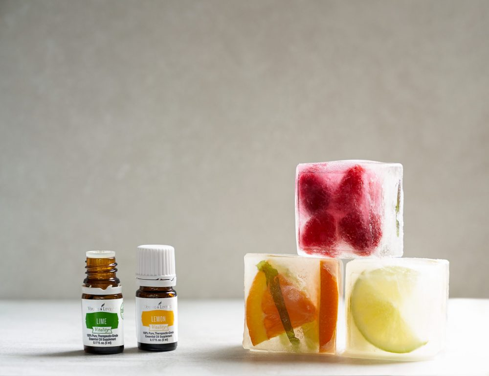 DIY essential oil ice cubes with lemon and lime vitality
