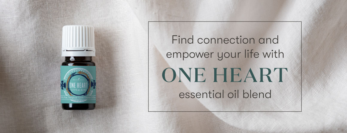 one heart essential oil blend on a clean linen background