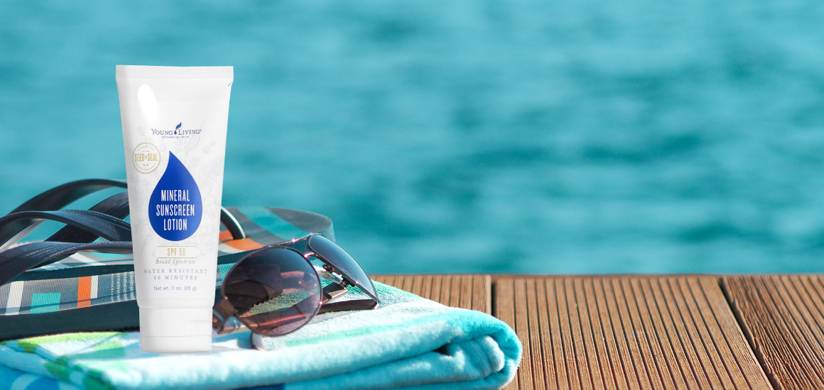 Young Living Mineral Sunscreen by the pool