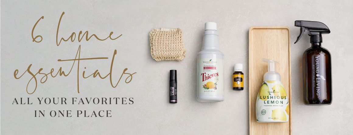 some natural living home essentials on a clean background