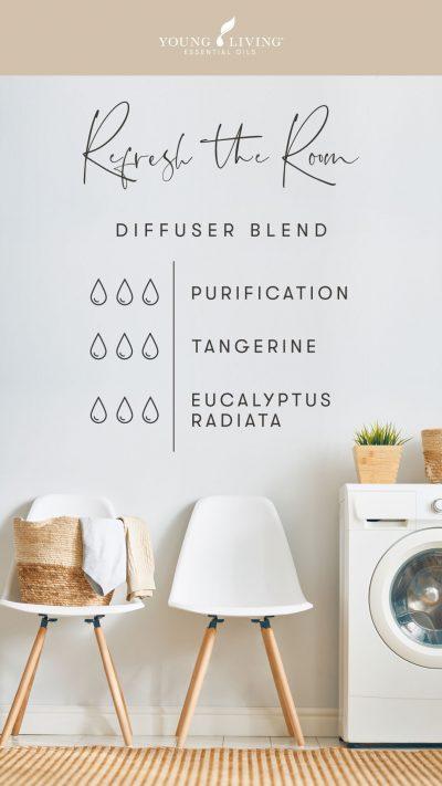 3 drops Purification 3 drops Tangerine 3 drops Eucalyptus Radiata