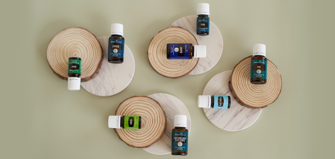 woodsy essential oils arranged on circles of wood and marble