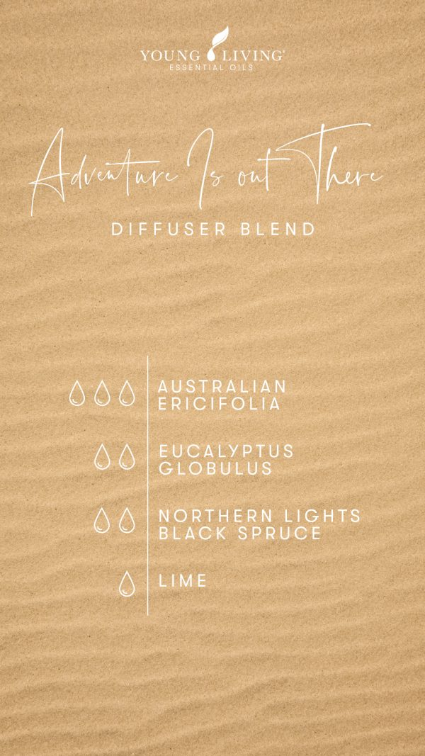 Adventure Is out There diffuser blend 3 drops Australian Ericifolia 2 drops Eucalyptus Globulus 2 drops Northern Lights Black Spruce 1 drop Lime