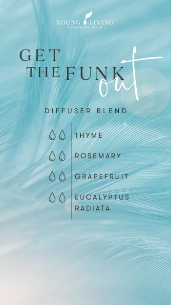 Get the Funk Out diffuser blend 2 drops Thyme 2 drops Eucalyptus Radiata 2 drops Rosemary 2 drops Grapefruit