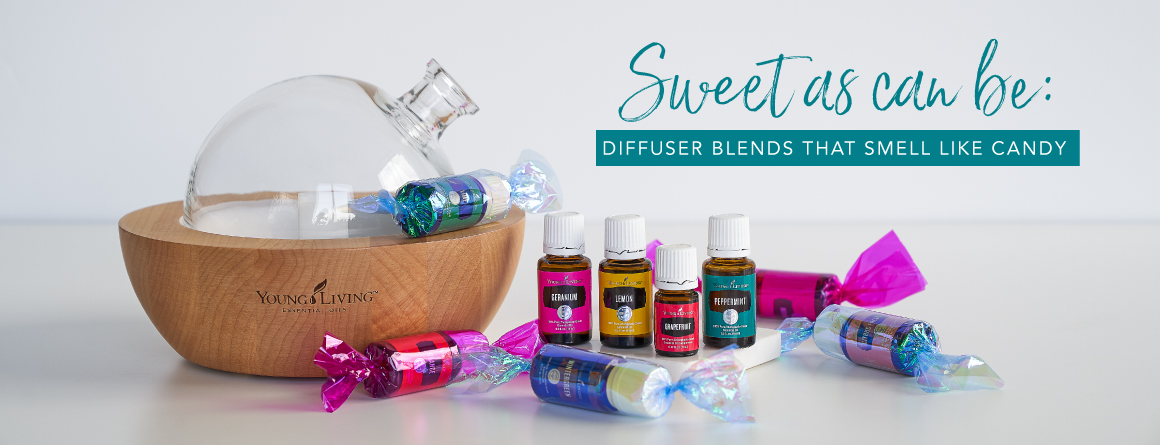aira diffuser surrounded by essential oils in candy wrappers