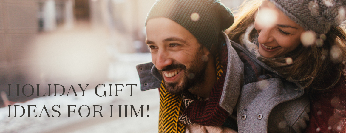 Young Living Holiday Gifts for Him Ideas Woman and man smiling in the snow