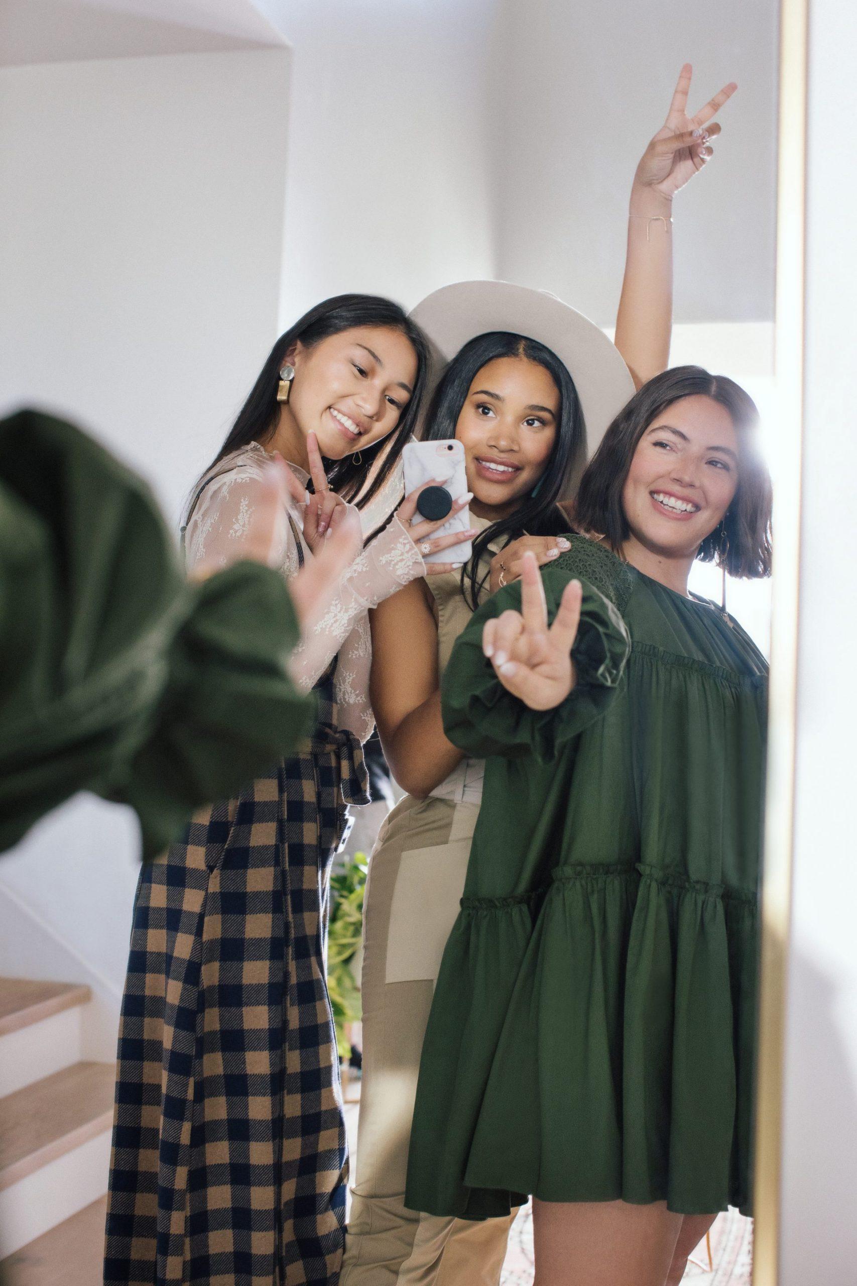 Three friends taking a selfie