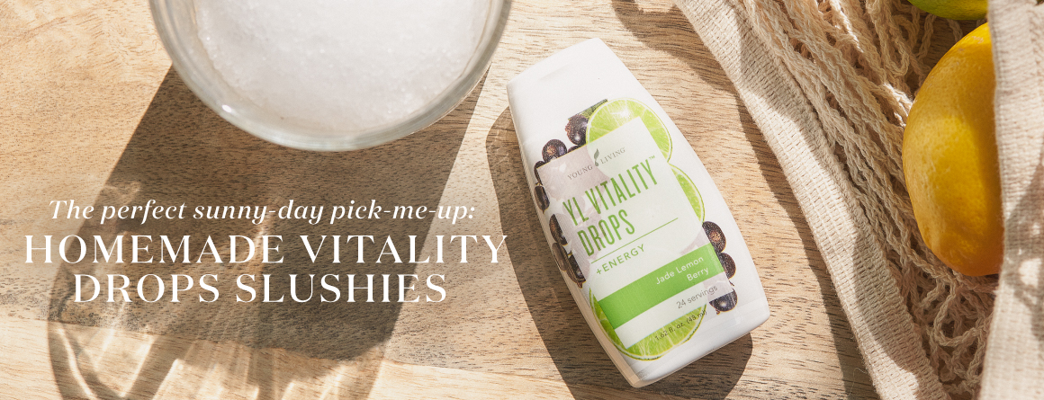 Blog Title (Captures blog content; clickable; draws you in) The perfect sunny-day pick-me-up: Homemade Vitality Drops slushies - Young Living Lavender Life Blog